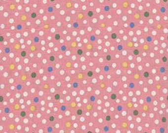 Quilting Fabric - Half Yard - Maywood Studio Animal Quackers - Pink with Polka Dots of Green blue yellow white
