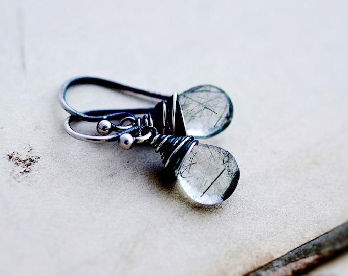 Gemstone Earrings, Tourmalinated Earrings, Rutilated Earrings, Dangle Earrings, Drop Earrings, Sterling Silver, PoleStar,