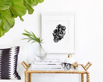 Minimalist wall art, floral, minimalist art, wall art, botanical print, black and white, Ink Flowers #11,