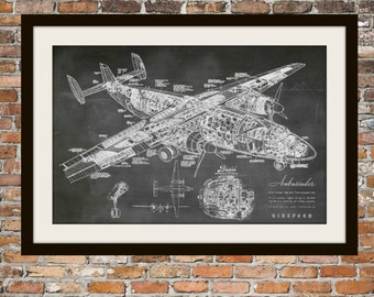 Blueprint Art of Plane Airspeed Ambassador Technical Drawings Engineering Drawings Patent Blue Print Art Item 0045