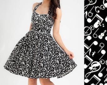 Cat Dress Kitty Dress Swing Dress Music Note Party Dress Concert Dress Festival Dress Plus Size Rockabilly Dress Pinup Dress 50s Retro Dress