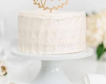 Wedding Cake Topper | Custom Name | Wreath | Calligraphy | Hand lettered Last Name | Metallic | Glitter | Gold | Wood | Rose Gold | Custom