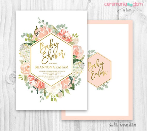 peach and gold baby shower girl floral invitation baby girl