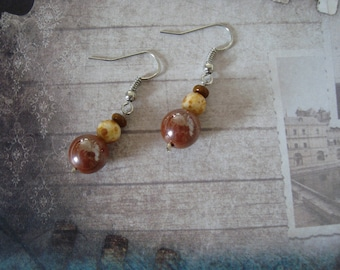 Earrings dangle fancy Brown and beige