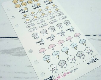Personal Sized Kawaii Weather Sticker Insert