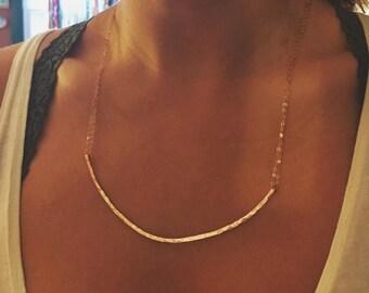 Hammered Copper Curvature Necklace