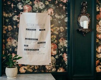 Canvas Banner - Kitchen Conversions - Wall Hanging - Canvas Flag - Poster - Wall Art - Decor - Organic Cotton - Pennant - Screenprint