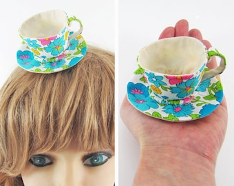 MADE-TO-ORDER ( 1 - 2 Weeks)  Miniature Teacup Hair Slide-Neon Floral