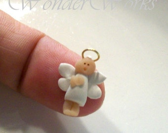 Micro Miniature Angel in White with Tiny Gold Halo - Hand Sculpted 12th Scale Ornament Figurine Collectible Gift