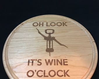 Cherry cutting board with handle, laser engraved, wine and cheese board
