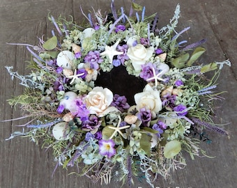 "Victorian Seashore Wreath ""As Time Goes By"" Front Door Wreath, Beach Wreath, Rose Wreath, Spring Wreath, Seashell Wreath,"
