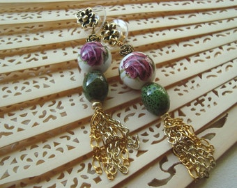 Painted Rose Dangle Earrings w Flower Details w Gold Chain Tassel, Art Nouveau, Pink, Green, Asian Inspired, Ceramic Bead, Gift For Her