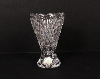 Crystal vase - Small crystal vase - Cut crystal vase - Czechoslovakia crystal vase - Bohemia lead crystal vase -Small vintage vase - 24% pbo
