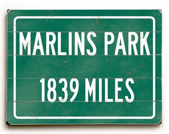 Marlins park etsy marlins park wood sign miami marlins highway distance sign personalized baseball sign marlins malvernweather Choice Image