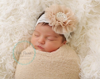 Champagne lace headband, newborn lace headbands, infant lace headband, girl lace headband, baby headband, girls headband, lace headbands