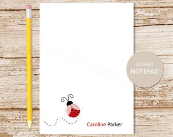 personalized ladybug notepad . red ladybug note pad . personalized stationery . custom stationary . girls notepad