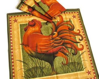 Country Chicken Dinner Napkins, set of four; Reversible Fabric Napkins; Fabric Serviettes with Chickens; Country Table Linens; Hostess Gift