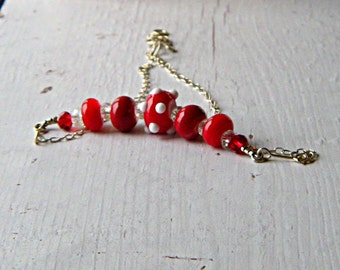 Red lampwork glass bead necklace, sterling silver and glass necklace, lampwork jewelry, boho red necklace, gift for her, free shipping
