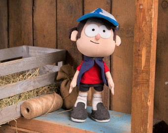 Gravity Falls Inspired - Dipper Pines plush doll, sits and stands, 12 in high