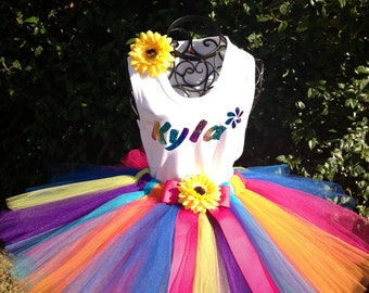 Girls Rainbow Tutu Set Great for Birthdays, Photo Props, Parties and Special Events