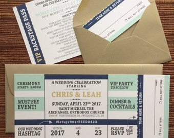 Concert Ticket Invitation with RSVP tear-off stub / Wedding Birthday Bar Bat Mitzvah Sweet 16 Graduation