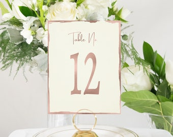 Rose Gold and Ivory Table Numbers, Deckle Edge, Handmade, Elegant. Available in Rose gold, copper, and silver foil.