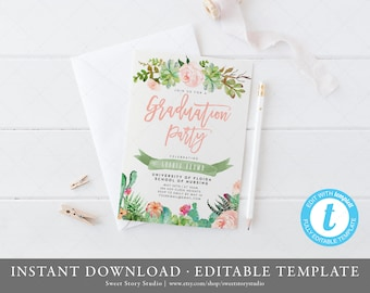 Succulent Graduation Party Invitation Card  | Instant Download, Editable, Printable | Cactus, Summer, Graduation Announcement | DC010