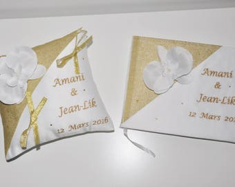 wedding ring pillow custom gold embroidered with Orchid rhinestone guestbook set + pillow