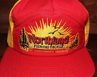 Vintage Northland Fishing Tackle red and yellow snapback trucker hat