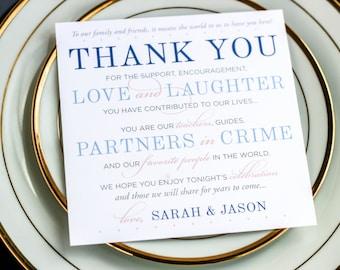 "Blue Wedding, Square Thank You Sign, Winter Wedding, Elegant - ""Classic Elegance"" Reception Thank You Sign 5.25x5.25 - DEPOSIT"
