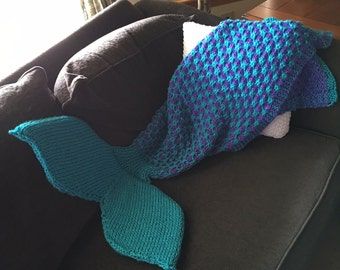 Two-Color Mermaid Tail Blanket Knitting Pattern for Children and Adults -- PDF 416 -- INSTANT DOWNLOAD