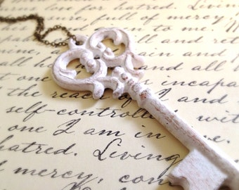 Large Antique White and Copper Key Necklace. Decorated Key. Key Jewelry. Skeleton Key. Ornate Key. Vintage Style. Silver Chain. Statement.