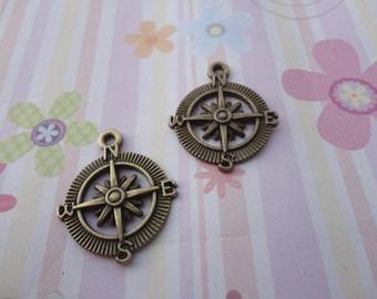 10pcs antique bronze compass findings 28mmx23mm
