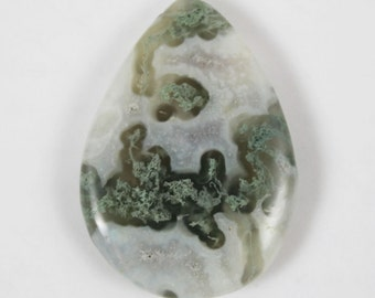 Green and White Green Moss Agate Smooth Teardrop Briolette Pendant