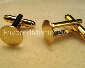 Lot of 12 Gold Plated Cuff Links (6 pairs) - 10mm Glue Pad - Made of Brass