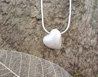 Handmade Solid fine Silver 3D Heart Pendant/necklace/charm with a brushed finish