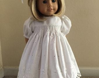 "Handsmocked beautiful eyelet dress for 18"" doll"