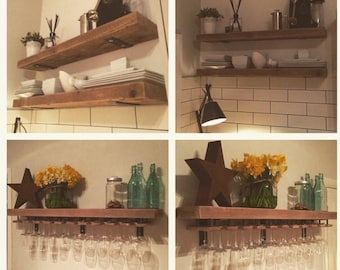 Reclaimed Wood, Made To Measure Chunky Kitchen Shelves. Metal Brackets,  Wine Glass Holders, Industrial, Shelf, Rack, Floating, Custom Rustic