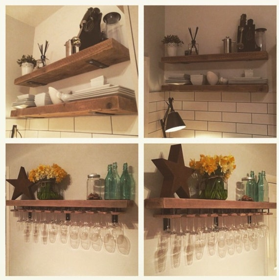 Reclaimed Wood Made To Measure Chunky Kitchen Shelves. Metal
