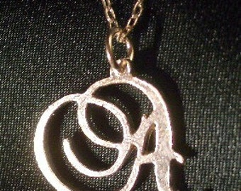 Handcarved Sterling Silver CUSTOM INITIAL Necklace - choice of fonts