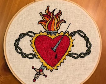 Sacred Heart Tattoo Hand Embroidery 6 inch