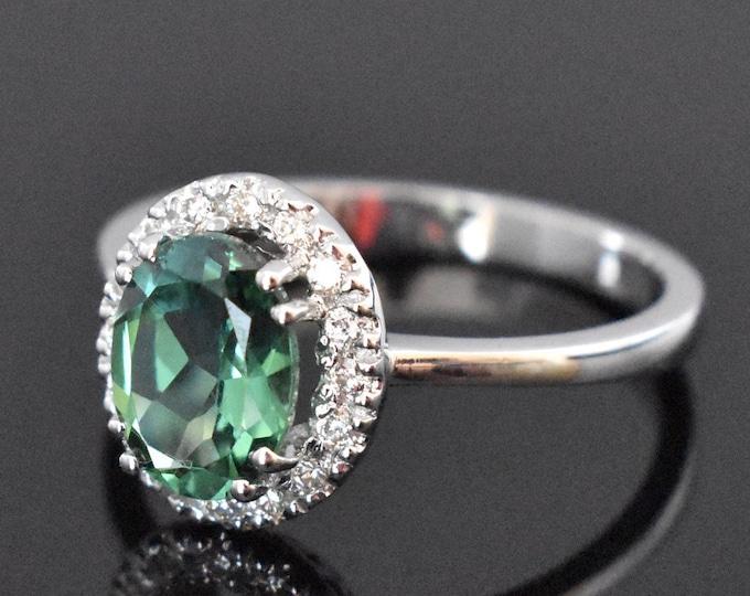 18K White gold Green Tourmaline & Diamond Ring | Engagement Ring | Wedding Ring | Statement Ring | Diamond Halo | Handmade Fine Jewelry