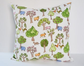 Nursery Pillow Farm Animals Pillow Kids Room Decor Pillow Cover Size Choice