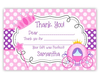 Princess Thank You Card - Pink Purple Polka Dots, Princess Crown and Carriage Personalized Birthday Party Thank You - Digital Printable File