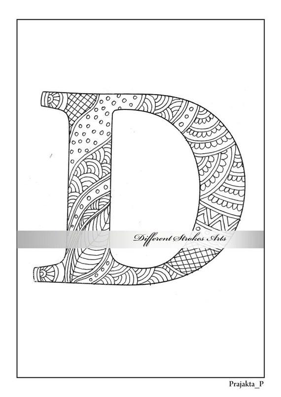 Zentangle Alphabet Malvorlagen Buchstabe D Farbe für