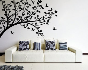 Wall Decal Tree Silhouette Branch With Leafs U0026 Birds   Nature Art Decor  Sticker   Forest
