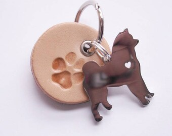 "Beige Key Ring ""dog Paw with Akita"""