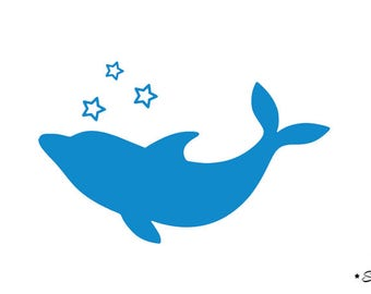 Blue Dolphin Star 2 flex fusible applique