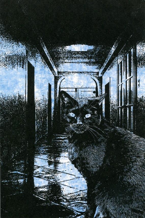 witches familiar Black Cat art print animal art wall art blue and black original digital art gothic fantasy science fiction artwork