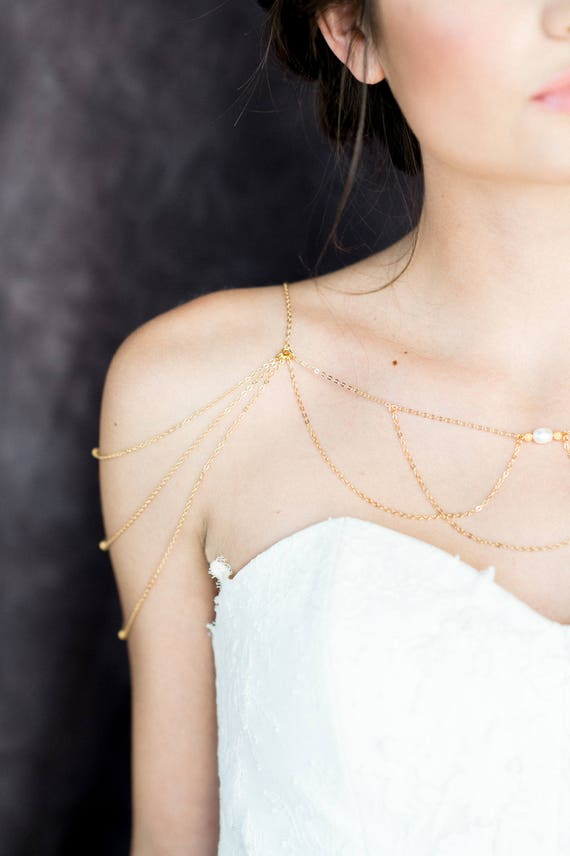 Rose Gold Shoulder Jewelry Gold Pearl Bridal Necklace Silver